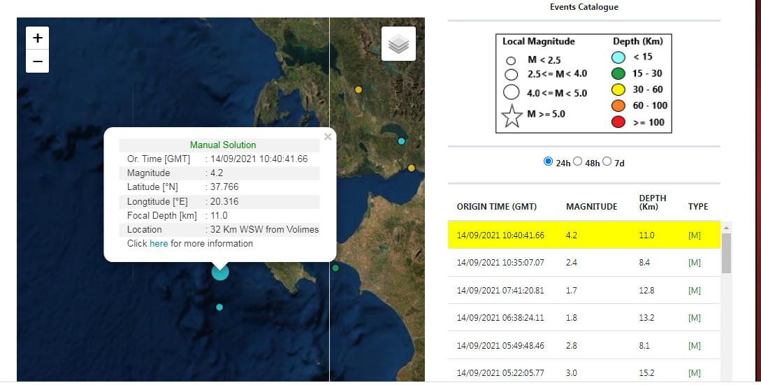 Σεισμός 4,2 ρίχτερ κοντά στην Ζάκυνθο